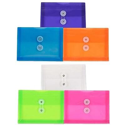 JAM Paper Plastic Envelopes, Button String Tie Closure, Index Booklet, 5.25 x 7.5, Assorted Poly Colors, 6/pack (920B1ASSRTD) 1912831