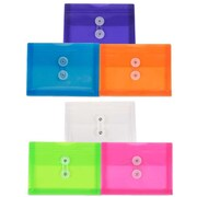 JAM Paper® Plastic Envelopes, Button String Tie Closure, Index Booklet, 5.25 x 7.5, Assorted Poly Colors, 6/pack (920B1ASSRTD)