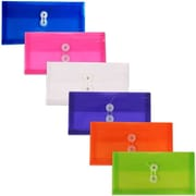 "JAM Paper Button-and-String Plastic #10 Envelope, 5.25"" x 10"", Multicolored, 6/Pack (921B1assrtd)"