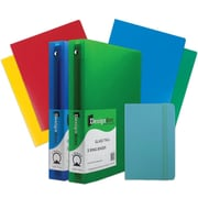"JAM Paper® Back To School Blue 1.5"" Classwork Pack, 4-Heavy Duty Folders, 2-1.5"" Binders, 1-Blue Journal, 7/Pack (CW15Bassrt)"