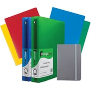 "JAM Paper® Back To School 1.5"" Classwork Pack Gray, 4-Heavy Duty Folders, 2-1.5"" Binders, 1-Gray Journal (CW15GRassrt)"