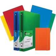 "JAM Paper® Back To School Assortments, Orange Classwork Pack, 4 Heavy Duty Folders, 2 1.5"" Binders, 1 Journal, 7/pk (CW15OASSRT)"