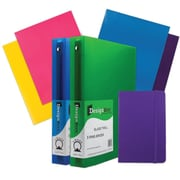"JAM Paper® Back To School Assortments, Classwork Pack, 4 Glossy Folders, 2 1.5"" Binders, 1 Journal, Purple, 7/pk (CWG15PRASSRT)"