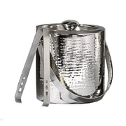 "Elegance Hammered 6"" Stainless Steel Ice Bucket with Tongs"