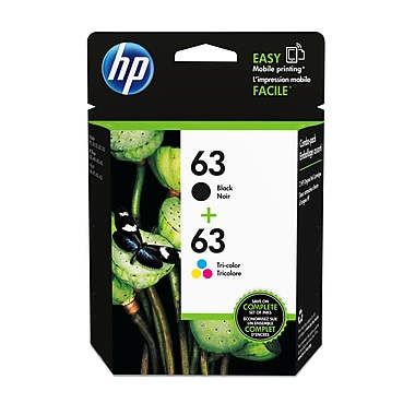 HP 63 Black & Tri-Color Original Ink Cartridges, 2/Pack (L0R46AN)