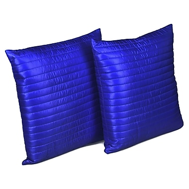 Stayclean Quilted Decorative Indoor/Outdoor Throw Pillow; Electric blue Staples