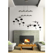 Pop Decors Paratrooper and Airplanes Wall Decal