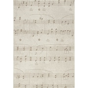 Kalora Alpha Sheet Music Flatweave Cream Area Rug; 5'3'' x 7'7''