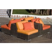 Hospitality Rattan Soho 4 Piece Sectional Deep Seating Group with Cushions; Bay Brown