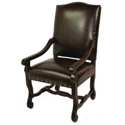 MOTI Furniture True Leather High Back Arm Chair; Burgundy