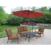 Oakland Living Hampton Aluminum 5 Piece Deep Seating Group with Cushions; Sunbrella - Tan