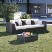 Hospitality Rattan Soho 3 Piece Deep Seating Group with Cushions; Spectrum Graphite