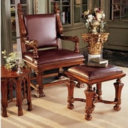 Design Toscano Lord Cumberland's Throne Arm Chair and Footstool Set