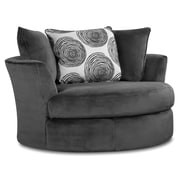 Chelsea Home Rayna Swivel Chair; Groovy Smoke / Big Swirl Smoke