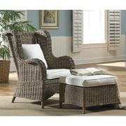 Panama Jack Sunroom Exuma Arm Chair and Ottoman; Antique Beige