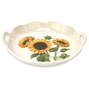 Lorren Home Trends Sunflower Round Wavy Edge Platter w/ Handles