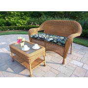 Oakland Living 2 Piece Resin Wicker Loveseat & Table Set with Cusion