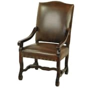 MOTI Furniture True Leather High Back Arm Chair; Chestnut