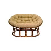 International Caravan Rattan Double Papasan Chair w/ Micro Suede Cushion; Java