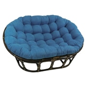 International Caravan Rattan Double Papasan Chair w/ Micro Suede Cushion; Indigo