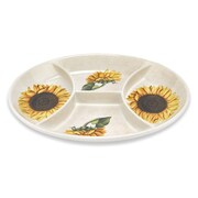 Lorren Home Trends Sunflower Oval 4 Section Appetizer Platter