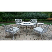 Oakland Living Tacoma 6 Piece Fire Pit Seating Group with Cushion; Beach Sand