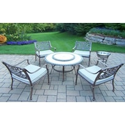 Oakland Living Tacoma 6 Piece Fire Pit Seating Group with Cushion; Antique Bronze