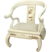 Oriental Furniture Landscape Ming Fabric Arm Chair; Ivory