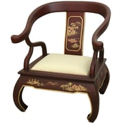 Oriental Furniture Landscape Ming Fabric Arm Chair; Red