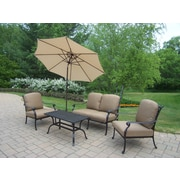 Oakland Living Hampton Aluminum 5 Piece Deep Seating Group with Cushions; Standard - Tan