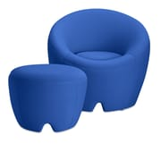OMO Modern Memory Foam Lounge Chair with Ottoman; Cobalt Blue