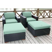 Bellini Pasadina 4 Piece Deep Chair Seating Group with Cushion; Spectrum Mist
