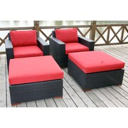 Bellini Pasadina 4 Piece Deep Chair Seating Group with Cushion; Polyster Dura-Fast Red Olefin