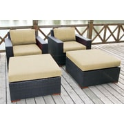 Bellini Pasadina 4 Piece Deep Chair Seating Group with Cushion; Canvas Heather Beige