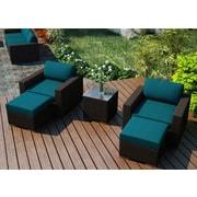 Harmonia Living Arden 5 Piece Lounge Seating Group w/ Cushion; Spectrum Peacock