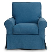 Sunset Trading Horizon Slipcovered Swivel Chair; Indigo Blue