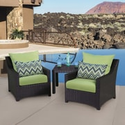 RST Brands Outdoor Deco 3 Piece Setting Group with Cushions; Gingko Green