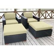 Bellini Pasadina 4 Piece Deep Chair Seating Group with Cushion; Canvas Vellum