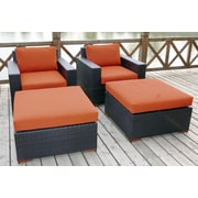 Bellini Pasadina 4 Piece Deep Chair Seating Group with Cushion; Spetrum Cayenne