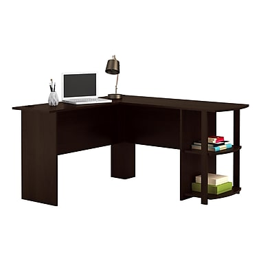 Dorel L-Shaped Desk with 2 Shelves, Dark Russet Cherry