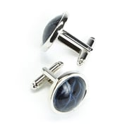 Royce Leather American Alligator Luxury Cufflinks, Navy Blue, Made in USA (2000-BLECF-ALG)