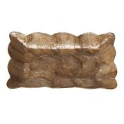 Dekorasyon Capiz Mini Rectangular Tray w/ Scalloped Edge; Smoke Gold