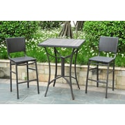 International Caravan Barcelona Wicker Resin Bar Height Bistro 3 Piece Set; Black Antique