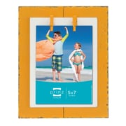 Prinz Beach Brights Distressed Plank with Clothespins Wooden Picture Frame; Orange