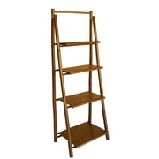 ZEW Bamboo 4 Tier Decorative 59'' Leaning Bookcase
