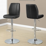 Monarch Specialties Inc. Adjustable Height Swivel Bar Stool with Cushion (Set of 2); Black