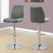 Monarch Specialties Inc. Adjustable Height Swivel Bar Stool with Cushion (Set of 2); Grey