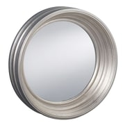 Prinz Palazzo Styrene Round with Ridged Profile Wall Mirror; Antique Silver