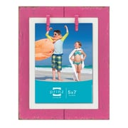 Prinz Beach Brights Distressed Plank with Clothespins Wooden Picture Frame; Pink