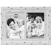 Prinz Two Opening Carson Distressed Wood Picture Frame; White